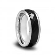 187T - Polished Spinner Ring with Black Ceramic Diamond Facets and Beveled Edges