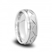 185T - Domed Tungsten Wedding Band with Satin Center and Tire Grooves