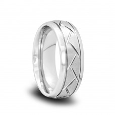 Domed Tungsten Wedding Band with Satin Center and Tire Grooves