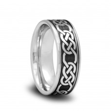 192T - Tungsten Wedding Band with Brushed Center and Celtic Pattern with Parallel Grooves
