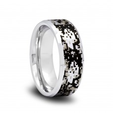 188T - Tungsten Camo Wedding Band with Digital Camouflage Pattern and Beveled Edges