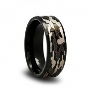 189T - Tungsten Camo Wedding Band with Gray and Black Camouflage Pattern and Beveled Edges