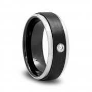 Brushed Black Ceramic Diamond Wedding Band with Raised Center