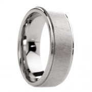 Mens Tungsten Ring with Etched Finish Raised Center 8 mm