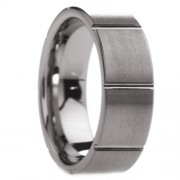 Grooved Brushed Finish Squares Tungsten Carbide Ring 8 mm