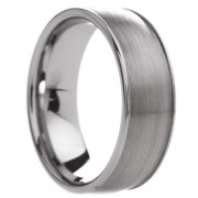 Slightly Rounded Brushed Center Tungsten Carbide Ring 8mm