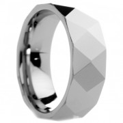 Diamond Faceted Polished Tungsten Carbide Ring 8 mm