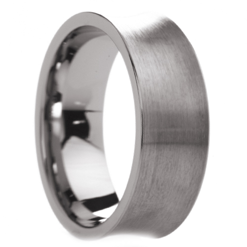 Eternal Tungsten 8 mm Mens Tungsten Carbide Rings Wedding Bands Concave Brushed Finish - Includes Engraving - Size 6 - 14
