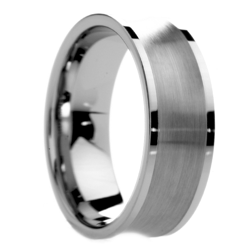 Eternal Tungsten 8 mm Mens Tungsten Carbide Rings Wedding Bands Brushed Concave Center - Includes Engraving - Size 6 - 14