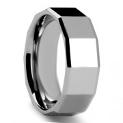 Square Facet Tungsten Carbide Ring with Polished Finish