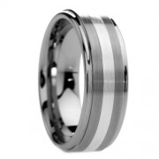 Raised Center Tungsten Carbide Ring with Silver Inlay 8mm