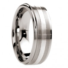 Raised Center Tungsten Ring with Platinum Inlay 8 mm