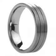 603T - Pipe Cut Grooved Tungsten Ring with Brushed Finish 6 mm
