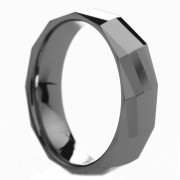 Polished Diamond Faceted Tungsten Carbide Ring 6 mm