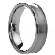 614T - Slightly Rounded Brushed Center Tungsten Carbide Ring 6mm