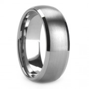 8mm Tungsten Carbide Ring Domed Beveled Ring Brushed Cent