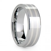 8mm Tungsten Carbide Ring Flat Polished Sterling Inlay