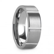 Mens 8mm Tungsten Ring Brushed Finish With Grooves