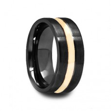 Flat Brushed Black Ceramic Wedding Band with Yellow Gold Inlay
